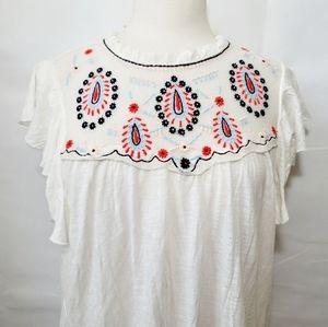 Lucky Brand Ivory Cream Embroidered Boho Shirt